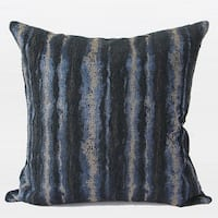 "G Home Collection Luxury Blue Mix Color Stripe Pattern Metallic Chenille Pillow 20""X20"""