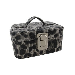 Small Gray Leopard Print Travel Jewelry Chest