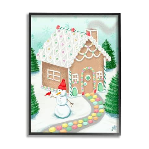 Stupell Industries Playful Gingerbread House Christmas Landscape Happy Snowman Framed Wall Art - Blue