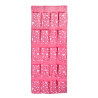 Home Wall Door Heart Pattern 24 Pockets Hanging Storage Bag Pink White