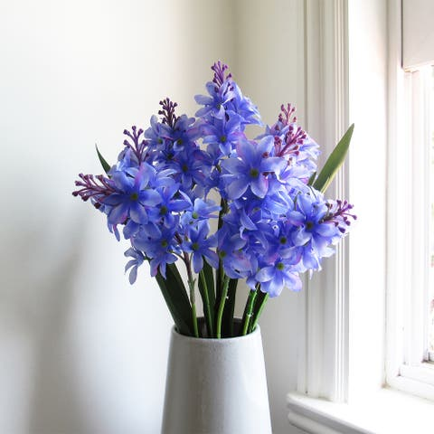 Set of 2 Hyacinth Delphinium Flower Stems Bush Bouquet 20.5in