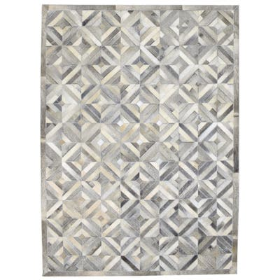 """One of a Kind Hand-Woven Modern & Contemporary 5' x 8' Diamond Leather Grey Rug - 5'0""""x7'0"""""""