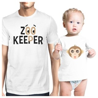Zoo Keeper Monkey Dad and Baby Matching Shirts Gift For Baby Shower