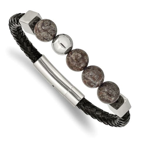 Chisel Stainless Steel Polished with Labradorite Black Leather 8.5 Inch Bracelet