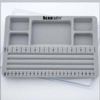 Beadsmith Mini Travel Bead Design Beading Board Gray Flock W/ Lid 7.75 x 11.25 Inches