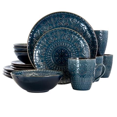 Elama Deep Ocean Mandala 16 Piece Round Stoneware Dinnerware Set