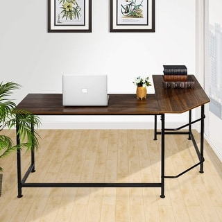 VECELO Home Office Desk  Modern Style L-Shaped  Corner Computer Desk