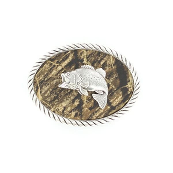 Nocona Western Belt Buckle Rope Bass Fish Camo Silver - 2 1/2 x 3 1/2