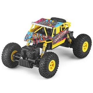 Costway 1:18 2.4G 4WD RC Off-Road Racing Car Radio Remote Control Rock Crawler Truck RTR - Yellow