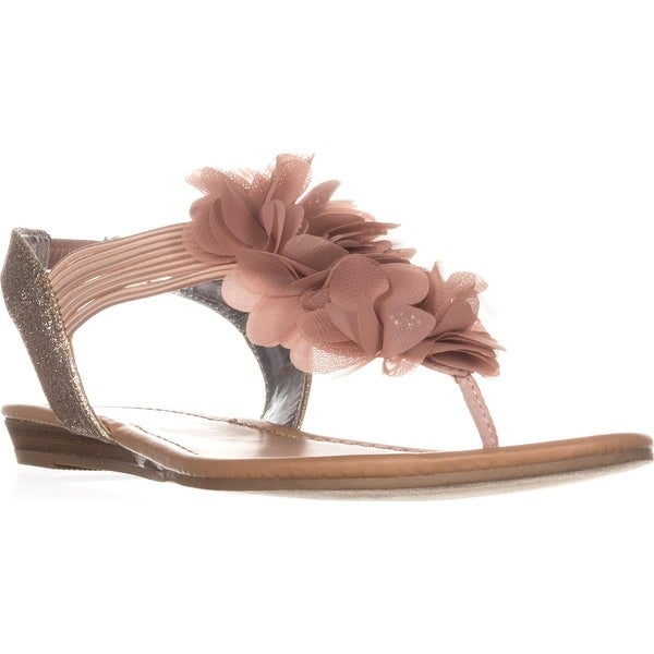 MG35 Sari Flower T-Strap Sandals, Light/Pasterl Pink