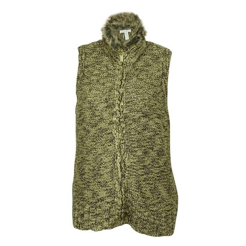 Charter Club Women's Marled Faux Fur Trimmed Vest Sweater
