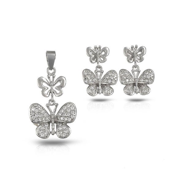 Mcs Jewelry Inc STERLING SILVER 925 CUBIC ZIRCONIA BUTTERFLY PENDANT AND EARRING SET