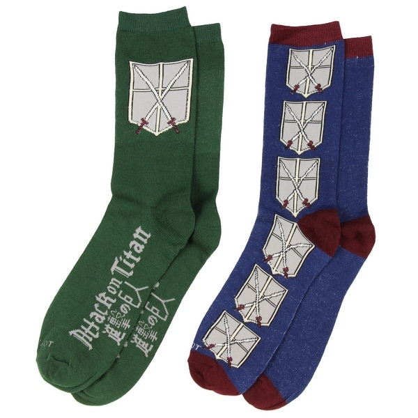 Anime Attack on Titan Cadet Corps Emblem Unisex 2 Pair Crew Cut Socks Cosplay