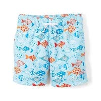Azul Boys Light Blue Fish Print Elastic Band Drawstring Swim Shorts