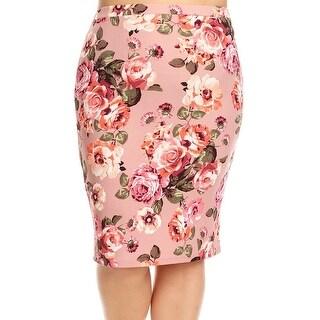 Women Plus Size Trendy Floral Pattern Pencil Skirt Dark Pink