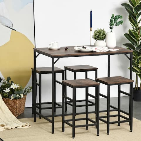 HOMCOM 5-Piece Modern Industrial Dining Room Table Furniture Set with 4 Chairs & Steel Legs for Dining Room, Black/Brown