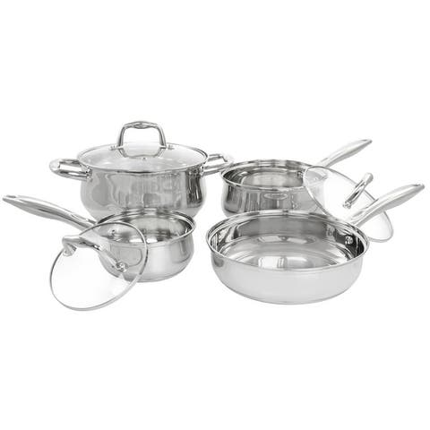 Gibson Home Bransonville 7 Piece Stainless Steel Cookware Set in Chrome