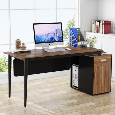 55 inch Computer Desk Modern Office Desk with Drawers and Storage Cabinet