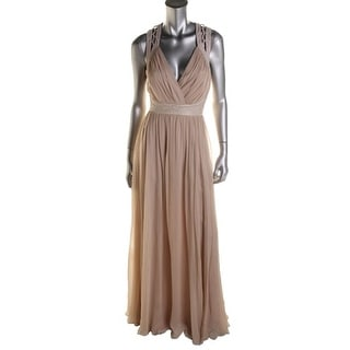 Badgley Mischka Womens Ciffon Embellished Evening Dress