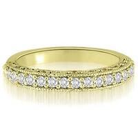 0.35 CT.TW Antique Milgrain Round Cut Diamond Wedding Ring in 14KT - White H-I