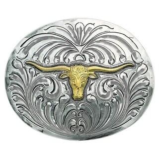 Bar V Western Mens Belt Buckle Drover Trophy Longhorn Silver 380-020 - One size