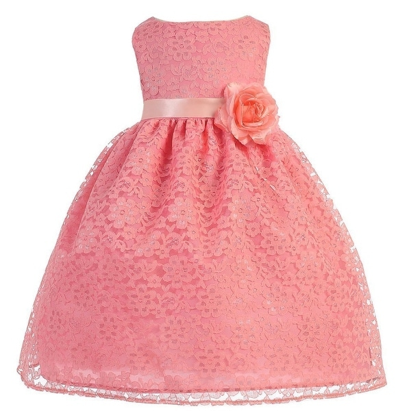 Baby Girls Coral Floral Lace T-Length Flower Girl Dress 6-24M