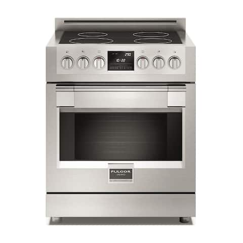 """Fulgor Milano F6PIR304 30"""" Wide 4.1 Cu. Ft. Induction Range with Dual Fan Convection - - Pro Stainless"""