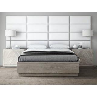 VANT Upholstered Headboards - Accent Wall Panels - Vintage Leather White Dove - 30 Inch Queen-Full - Set of 4 panels.