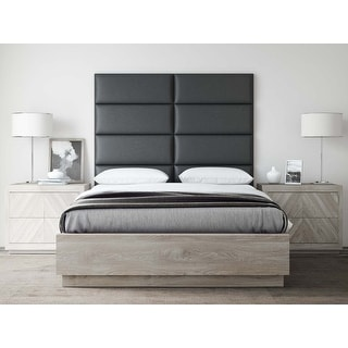 VANT Upholstered Headboards - Accent Wall Panels - Vintage Leather Jet Black -  Queen-Full - Set of 4 panels
