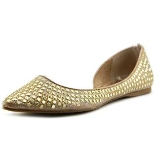 Steve Madden Eligant Women Pointed Toe Canvas Gold Flats