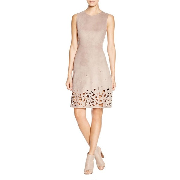Elie Tahari Womens Ophelia Casual Dress Faux Suede Cut-Out