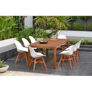 Link to Amazonia Hawaii White 9-piece Rectangular Sidechair Patio Dining Set Similar Items in Patio Furniture