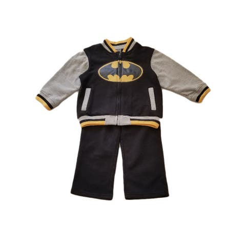 Kids Brand Black Batman Zipped Long Sleeve Top Pants Outfit Little Boys