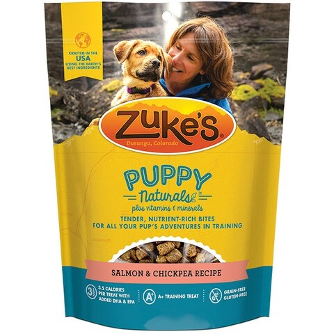 Zukes Puppy Naturals Dog Treats - Salmon & Chickpea Recipe - 5 oz