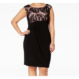 Connected Apparel NEW Black Womens Size 16W Plus Faux-Wrap Dress Sheath