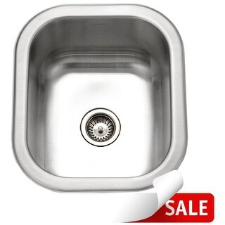 """Houzer CS-1307 Club 12-1/2"""" Single Basin Undermount 18-Gauge Stainless Steel Bar Sink with Sound Dampening Technology and Basket"""