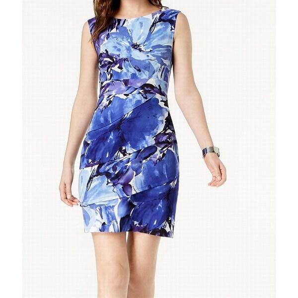 29c3c6cf Connected Apparel Blue Floral Print Women's Size 16 Sheath Dress
