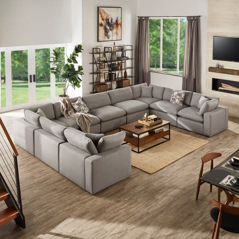 Anka Grey Linen Down Filled Cushioned 9-Seat Sectional Sofa by iNSPIRE Q Modern