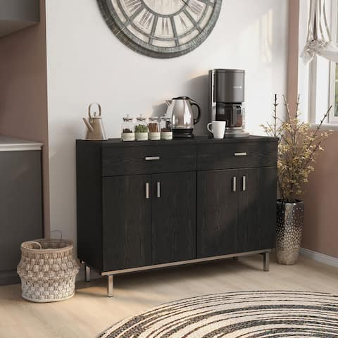 Furniture of America Mason Modern Black Solid Wood Buffet