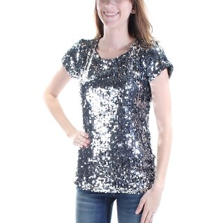 INC $80 Womens New 1442 Silver Sequined Short Sleeve Jewel Neck Party Top XS B+B