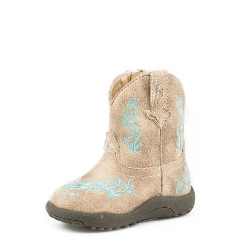 Roper Western Boots Girls Zip Round Toe Tan