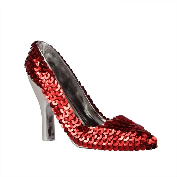 """3.5"""" Fashion Avenue Red Sequined High Heel Shoe Christmas Ornament"""