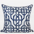 "G Home Collection Luxury Blue Classic Geometry Pattern Pillow With Tassels 20""X20"" - Thumbnail 0"