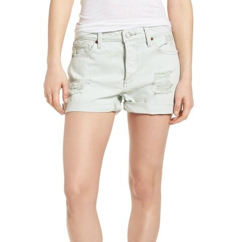 Lucky Brand Green Womens Size 2 Cuffed Distressed Denim Shorts