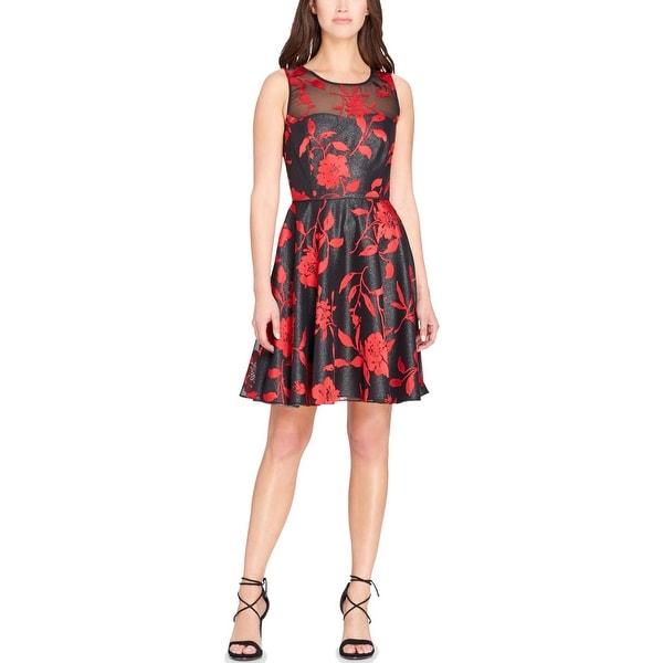 a0978776 Shop Tahari ASL Womens Petites Cocktail Dress Floral Print Burnout ...