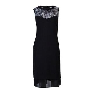 Anne Klein Sleeveless Lace Yoke Dress - Black - 10