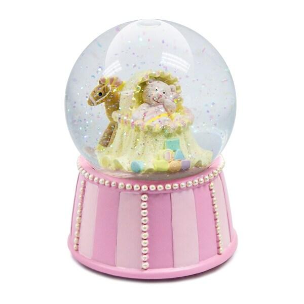 Russ Berrie Pink Bear Musical Snow Globe