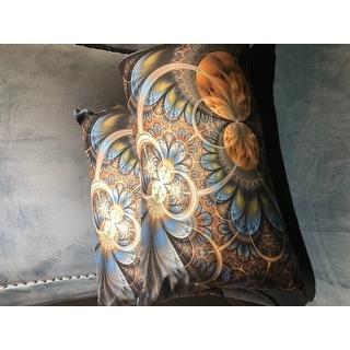 Designart 'Symmetrical Blue Gold Fractal Flower' Abstract Throw Pillow