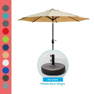Link to Lopes 9-foot Patio Umbrella with Weighted Base Similar Items in Patio Umbrellas & Shades