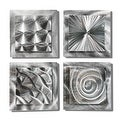 Statements2000 Set of 4 Silver Metal Wall Art Accents by Jon Allen - 4 Squares - Thumbnail 0